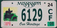 2008 Mississippi 6129CF Our Heritage License Plate