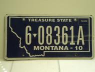 2010 MONTANA Treasure State License Plate 6 08361A