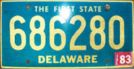 1983 Jul Delaware 686280 First State License Plate