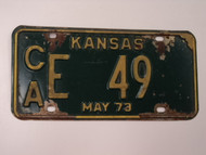 1973 KANSAS License Plate CA E 49