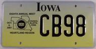 Oct 2001 Iowa Hearland Region License Plate CB98