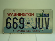 2000 WASHINGTON Evergreen State License Plate 669 JUV