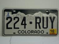 2010 COLORADO License Plate 224 RUY