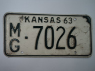1963 KANSAS License Plate MG 7026