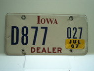 2007 IOWA Dealer License Plate  D877 027