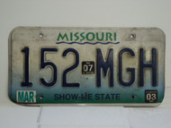 2003 2007 MISSOURI Blue Fade Show Me State License Plate 152 MGH