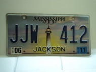 2011 MISSISSIPPI Lighthouse License Plate JJW 412