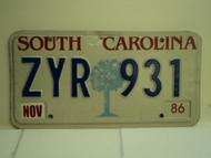 1986 SOUTH CAROLINA Palmetto License Plate ZYR 931
