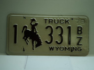 1978 Wyoming Truck License Plate 1 331 BZ