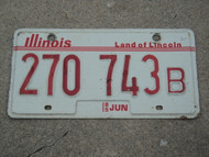 1985 ILLINOIS Truck Land Of Lincoln License Plate 270 743B