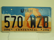 UTAH Centennial 1896 License Plate 570 WZB