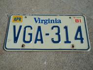 1981 VIRGINIA License Plate VGA 314