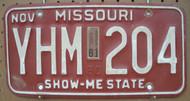 1981 Nov Missouri YHM-204 License Plate DMV Clear YOM