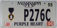 2004 Jan Mississippi Purple Heart License Plate