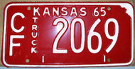 1965 Coffey Co Kansas CF 2069 Truck License Plate