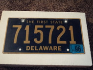 1996 DELAWARE The First State License Plate 715721