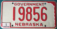 1980 Jan Nebraska Government License Plate 19856