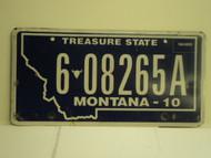 2010 MONTANA Treasure State License Plate 6 08265A