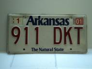2001 ARKANSAS Natural State License Plate 911 DKT