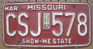 1982 Mar Missouri CSJ-578 License Plate DMV Clear YOM