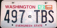 2005 Washington 497 TBS Evergreen License Plate