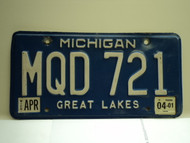 2001 MICHIGAN Great Lakes License Plate MQD 721