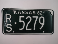 1962 KANSAS License Plate RS 5279