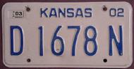 2003 Kansas D 1678 N DEALER License Plate