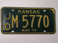 1973 KANSAS License Plate JO M 5770