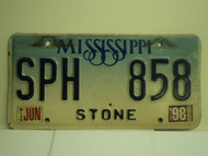 1998 MISSISSIPPI License Plate SPH 858