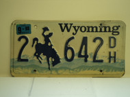 1998 WYOMING Bucking Bronco License Plate 2 642 DH