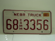 2002 NEBRASKA Commercial Truck License Plate 68 3356 1