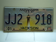 2001 MISSISSIPPI Lighthouse License Plate JJ2 918
