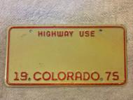 1975 Blank Colorado Highway Use License Plate