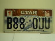 2012 UTAH Greatest Snow on Earth License Plate B88 0UU