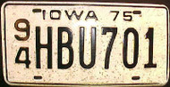 1975 Webster Co Iowa 94 HBU701 License Plate