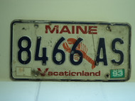 1993 MAINE Lobster Vacationland License Plate 8466 AS
