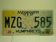 2002 MISSISSIPPI License Plate MZG 585