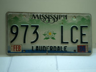 2006 MISSISSIPPI Magnolia License Plate 973 LCE