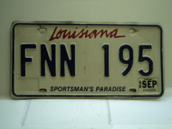 1998 LOUISIANA Sportsmans Paradise License Plate FNN 195