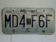 2011 MISSOURI Blue Bird License Plate MD4 F6F