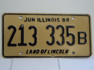 1984 ILLINOIS Land of Lincoln License Plate 213 335B 1