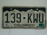 2008 COLORADO License Plate 139 KWU