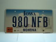 2006 IOWA License Plate 980 NFB