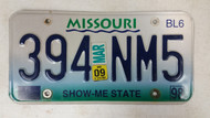 2009 MISSOURI Show-Me State License Plate 394 NM5