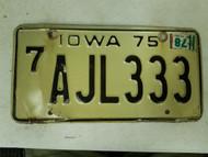 1975 Iowa Black Hawk County License Plate AJL333 Triple Three