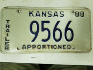 1988 Kansas Apportioned Trailer License Plate 9566