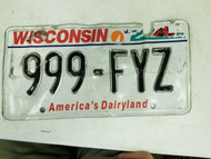 Wisconsin America's Dairyland License Plate 999-FYZ Triple Nine