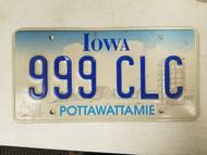 Iowa Pottawattamie County License Plate 999 CLC Triple Nine