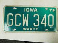 1979 Iowa Scott County Debossed License Plate GCW 340